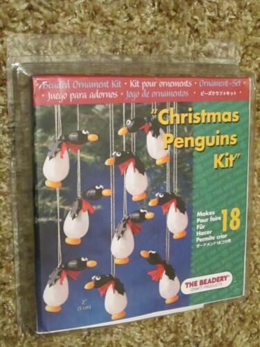 "The Beadery Craft Beads Christmas Penguins 2"" Ornament Kit Makes 18 #5577 NEW"