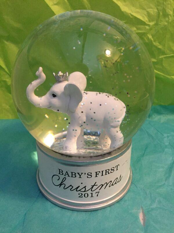 Babies First Christmas 2017 Elephant Snow Globe Beautiful- Really!
