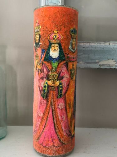 Vintage Christmas Candle Tall Glass Cylinder Sugar Coated # Wise Men Magi WOW
