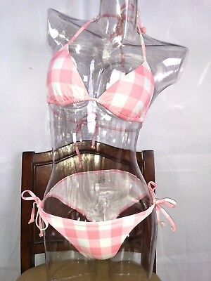 String Triangle Top (SEXY Pink Plaid String Bikini Triangle Top Full Bottom Sale Limited Quantity )