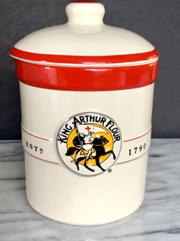King Arthur Vintage Canister Flour Ceramic Crock  Flour Container Counter Jar