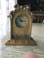 Old Fashioned Gold Color Antique Look Mantle Clock NIB