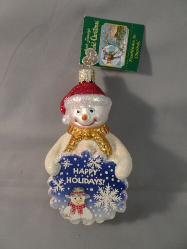 "NOS w Tag 2008 Old World Christmas OWC GLISTENING GREETINGS SNOWMAN 4.5"""