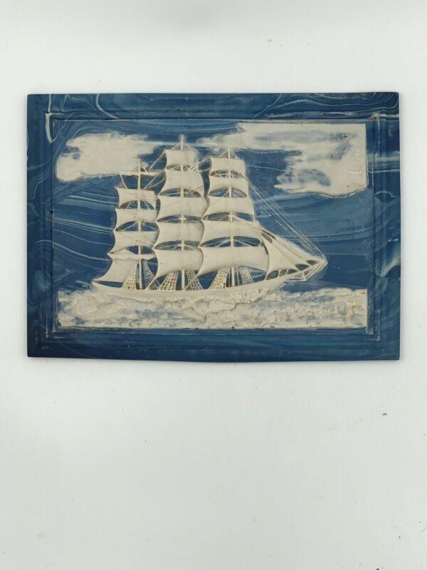 Vintage Resin Marine Corps Nautical Plaque