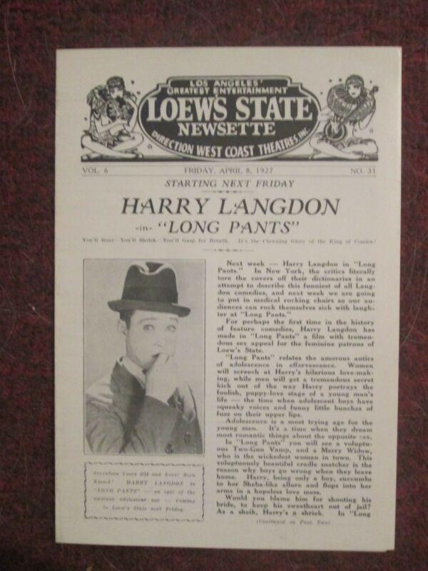 Harry Langdon - Original 1927 Program - Long Pants