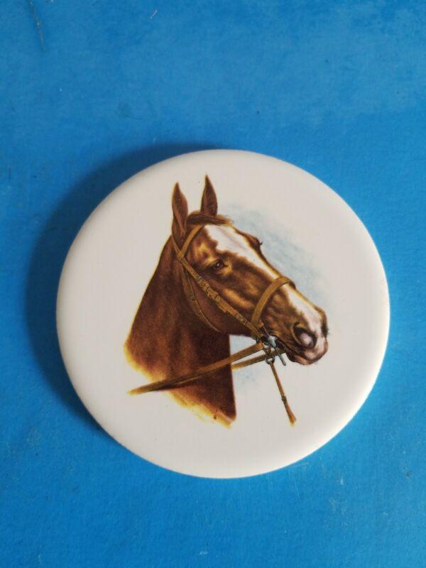 "VINTAGE H&R JOHNSON 3 1/2"" HORSE COLLECTIBLE ROUND TILE..*C2"