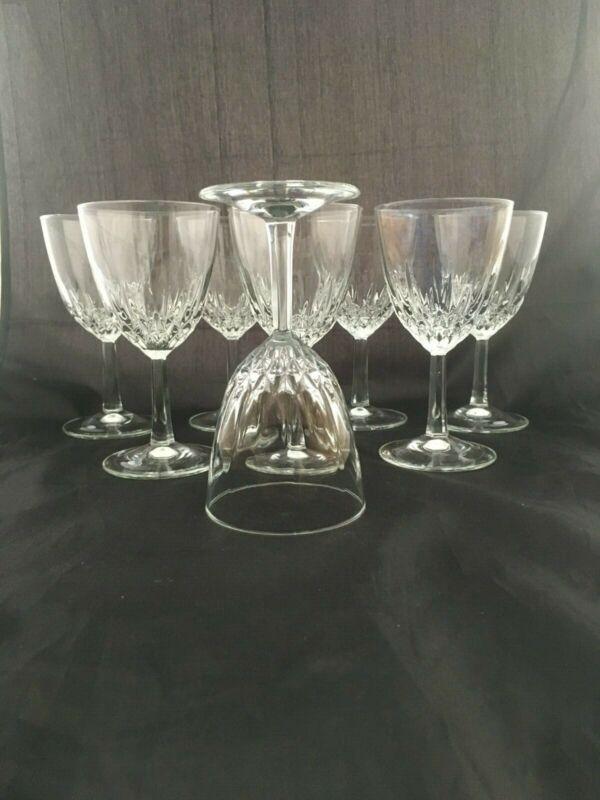 Set 2 Vintage Mid Century Modern Cut Crystal Nick Nora Cocktail / Wine Glasses