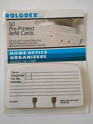 Rolodex Pre Printed Refill Cards 50 Cards 2 14 X 4 Lined Cs84