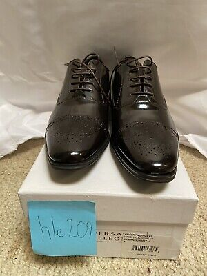 Versace Collection Leather Dark Brown-Gun Metal Loafer Dress Shoe Size 7 New