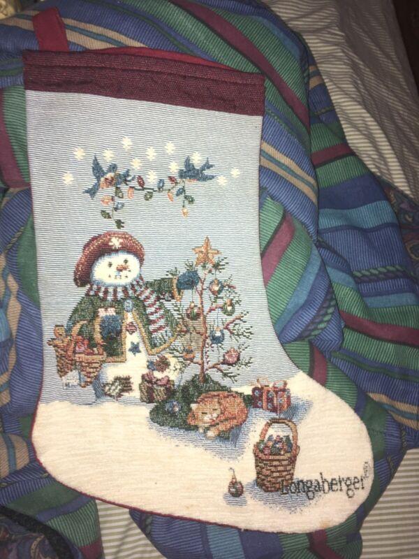 Longaberger Snowman Christmas Stocking Holiday Winter