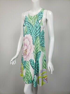 MARA HOFFMAN White Lilac Pink Green Floral Knit Jersey A-Line Dress sz -