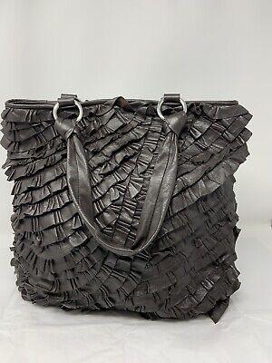 Italian Leather ~ Sobello Dark Brown Ruffled Soft Leather Tote Purse