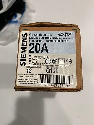 Siemens Q120 Case Lot Of 12 Breakers Single Pole 20 Amp 120240v New In Box 20a