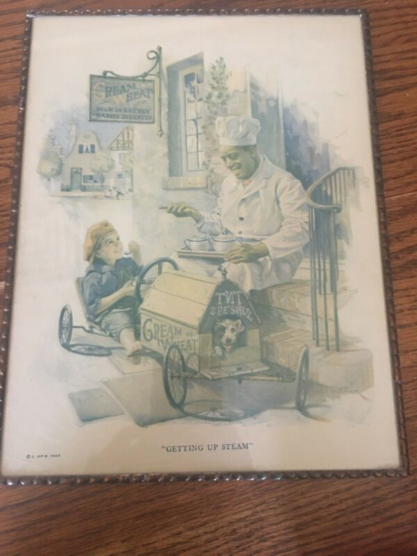 "1924 Cream of Wheat ""Getting Up Steam"" framed Glass Dog Child Brewer"