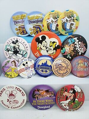 VTG Disneyland Walt Disney World Parks Resort Button Pin Lot