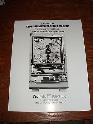 Super Deluxe pachinko machine operating Instructions- Nice manual