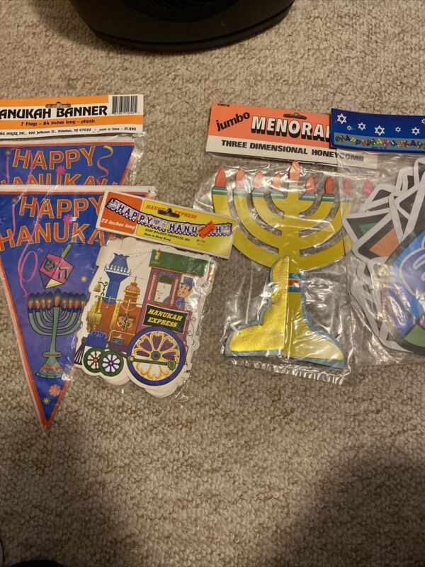 HANUKAH BANNERS AND DECORATIONS 5 PIECES