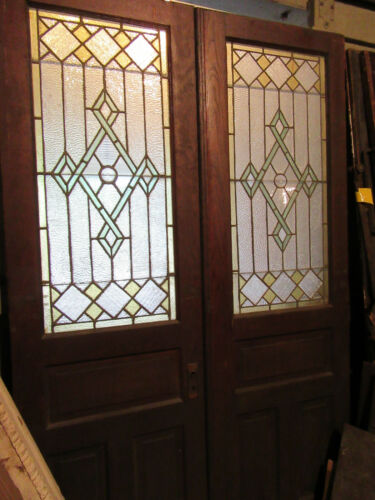 ~ ANTIQUE CHESTNUT STAINED GLASS DOUBLE ENTRANCE FRENCH DOORS ~ 56 X 89 SALVAGE