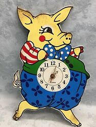 Wood Pig Piggy Shaped Wall Clock Rustic Vintage Country Style Battery Powered