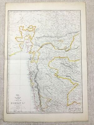 Antique Map of India Bombay Indian Continent Hand Coloured 19th Century Original