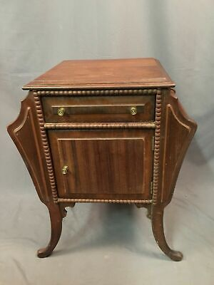 Wood Cigar Stand Humidor Antique Magazine Cigarette Station With Drawer Made USA