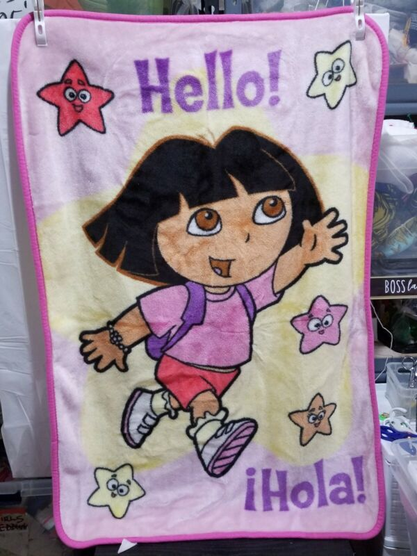 VTG Dora the Explorer Star Plush Fleece Toddler Blanket Throw Hola Hello 30x42