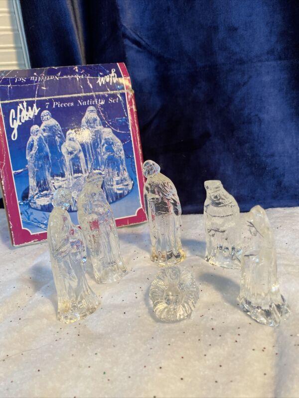 Vintage 6 Piece Clear Glass Nativity Set