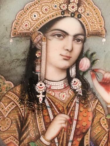Antique Islamic 19 Century Mughal Indian Miniature Painting of Mumtaz Taj Mahal