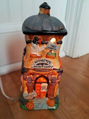 Vintage Halloween Ceramic Lighted Monster Mortuary 1996 in Box NOS