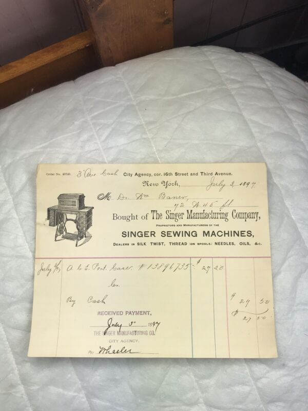 Antique 1897 Reciept Singer Sewing Machines Singer Manufacturing New York R(638)