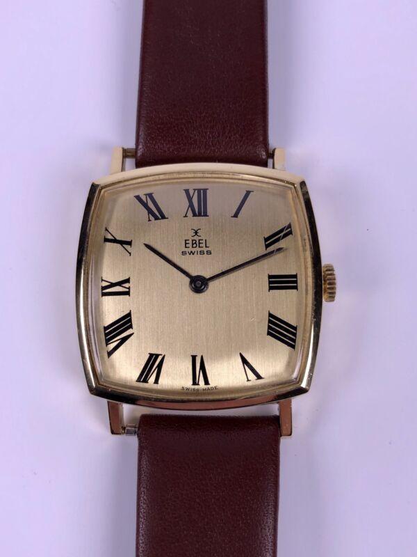 Ebel Herren Armbanduhr 750/18kt Gold Handaufzug cal.978 Tonneauform Swiss 70's