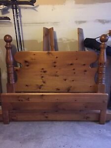 Solid wood queen bed and 2 night stands
