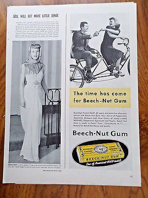 1940 Beech-Nut Gum Ad Bicycling for Two