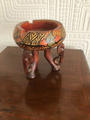 Unusual Heavy Carved Wooden Wlephant Ashtray