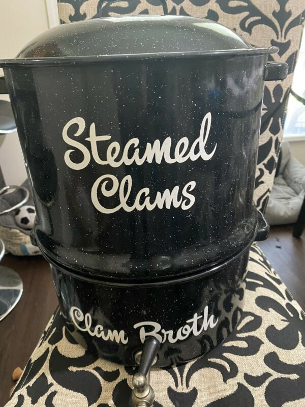 VINTAGE STYLE STEAMED CLAM LOBSTER POT w/ SPOUT SPECKLED ENAMEL