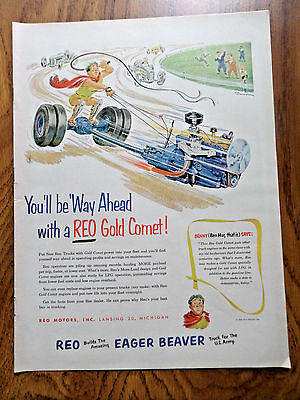 1952 REO Eager Beaver Truck Ad  Way Ahead with a Reo Gold Comet