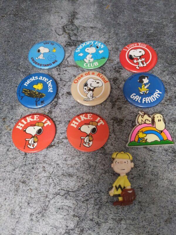 10 Vintage Snoopy Peanuts Pins Pinback Button Aviva 1972 Charlie