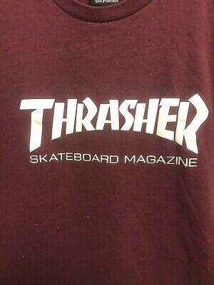 VINTAGE 90s Thrasher Skateboard Magazine T Shirt Large Maroon Skater Shirt Men's