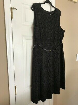 Calvin Klein Black Floral embossed velvet A Line pleat Dress Women's Plus SZ 20W