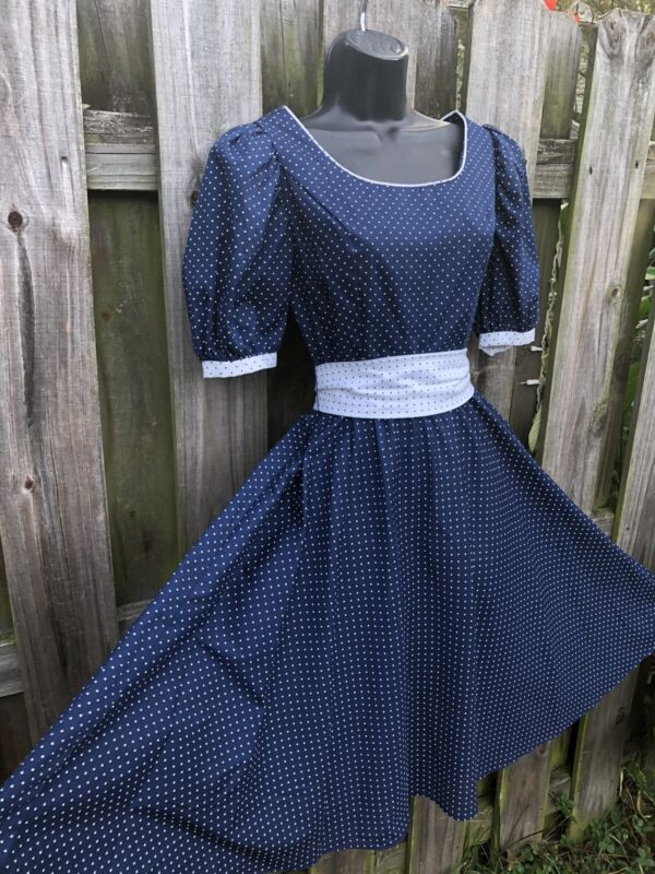 Vintage 1970's Navy Blue And White Polka Dot Dress With Belt
