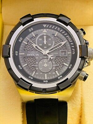 INVICTA Mens Aviator Chrono Black Silicone Stainless Case Mens Watch 28095 NEW!
