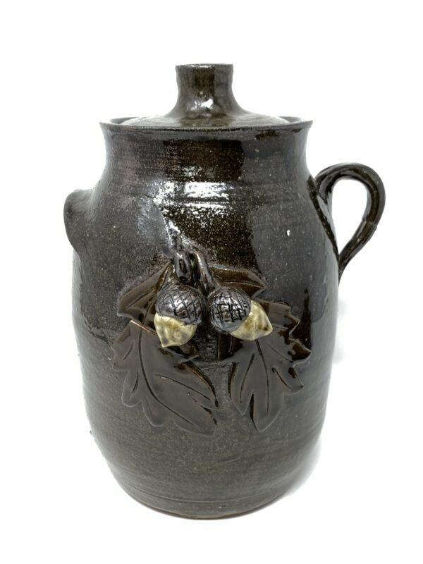 David Meaders Signed Acorn & Oak Leaf Cookie Jar Crock Pottery Cleveland, GA