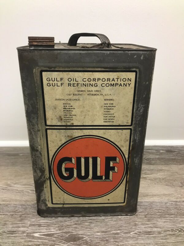 Very Rare 5 Gallon Vintage Gulf Transmission Oil Can Sign Advertising gas  Pump