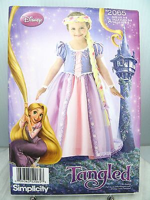 RAPUNZEL Tangled DRESS Braided Hair Disney PATTERN Simplicity 2065 A 3 4 5 6 7 8 (Plus Size Rapunzel Costume)