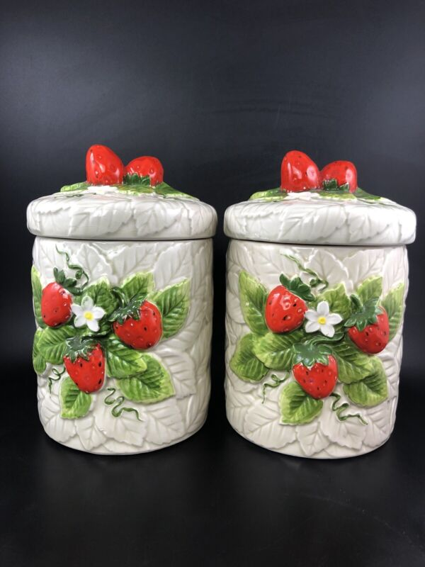 Vintage 1981 Pair Sears Roebuck & Co. Strawberry Ceramic Canister Set Japan