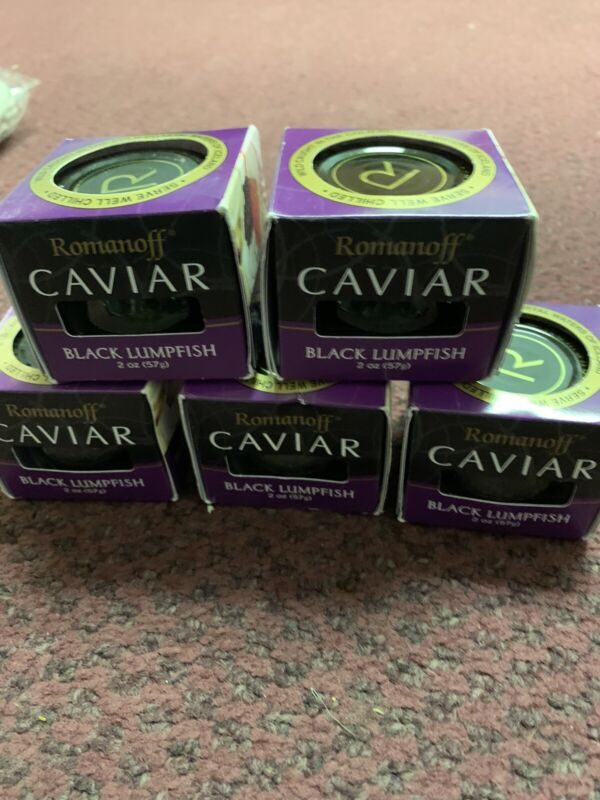 5 X Romanoff Caviar Black Lumpfish, 2 oz Jars