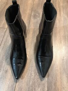 Kendall and Kylie black shiny leather booties