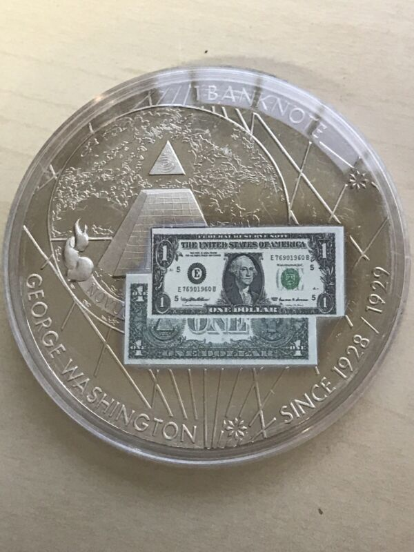 AMERICAN MINT $1 banknote Inlay:  silver plated