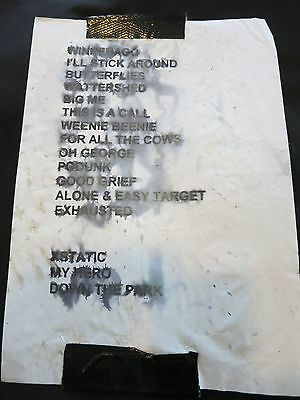 FOO FIGHTERS ORIGINAL USED SETLIST! EARLY TOUR SET LIST DAVE GROHL NIRVANA
