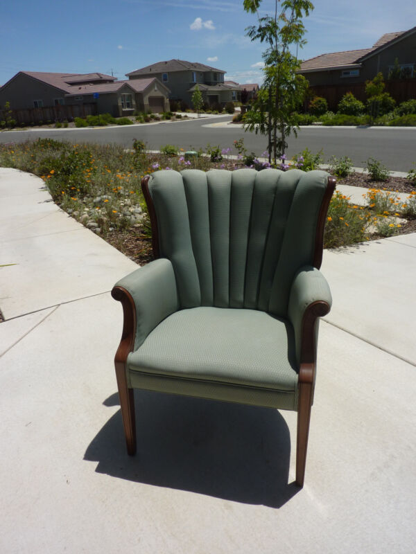 Channel Back Chairs (2) Upholstered in seaform blue-green vintage 1949-1951